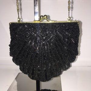 Handbags - Black beaded evening bag